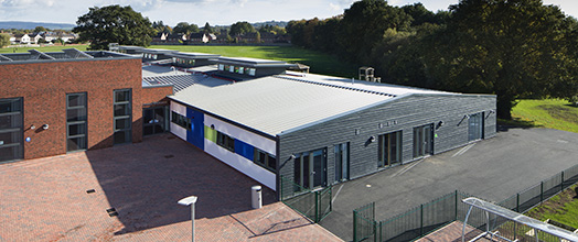 Llantarnam Community Primary School - A bird's eye view of the of main entrance to the school