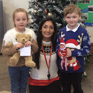 Miss Ally is pictured with Ethan Seabourne and Tayla Rees
